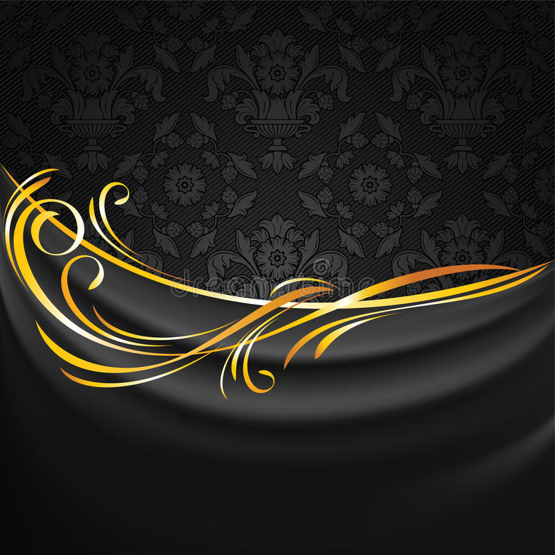 Le tissu foncé drape sur le fond ornemental noir illustration libre de droits