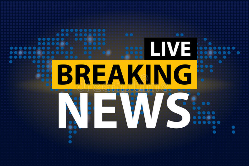 Le titre de Live Breaking News dans le bleu a pointillé le fond de carte du monde Illustration de vecteur illustration libre de droits