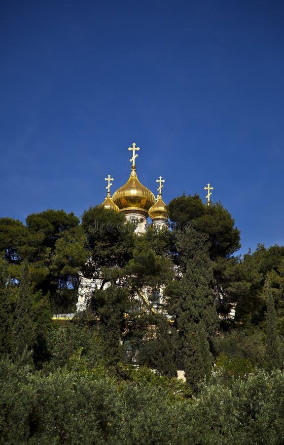Chiesa di Maria Magdalene fra gli alberi fotografia stock libera da diritti