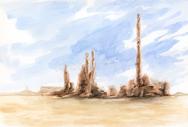 Le totem P?le Vallée de monument, frontière du l'Arizona-Utah, Etats-Unis illustration de vecteur