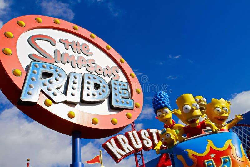 Le tour de Simpsons aux studios universels Hollywood image libre de droits