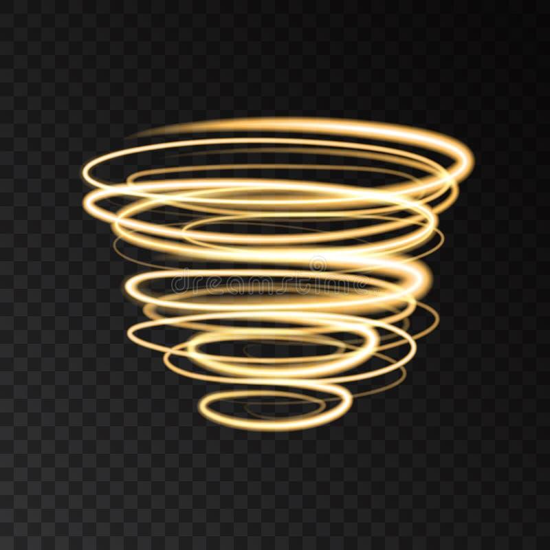 Le tourbillonnement au néon d'or entoure des effets de la lumière de mouvement de vitesse illustration de vecteur
