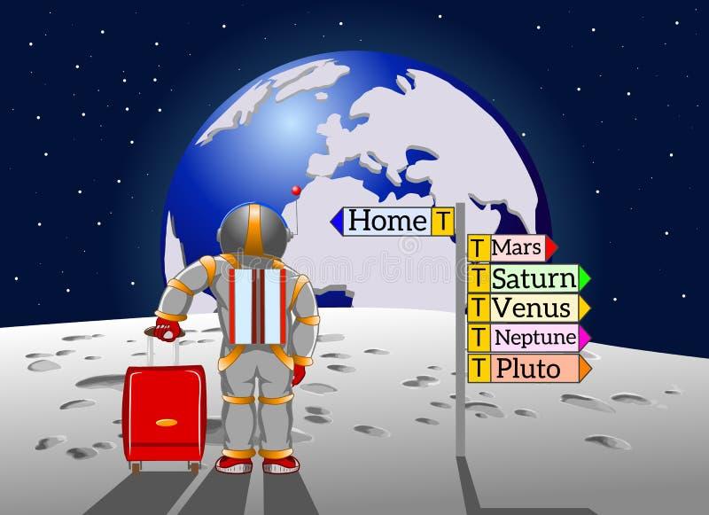 Le touriste de l'espace revient à la maison à la terre illustration stock