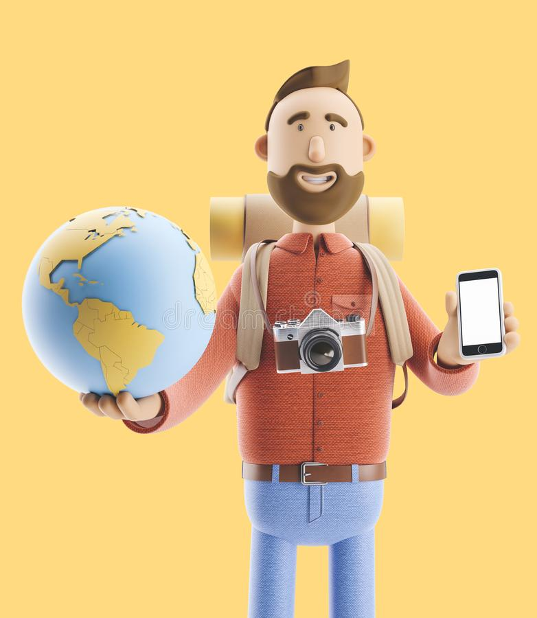 Le touriste de personnage de dessin animé se tient avec un grands indicateur et globe de carte illustration 3D Concept du déplace illustration libre de droits