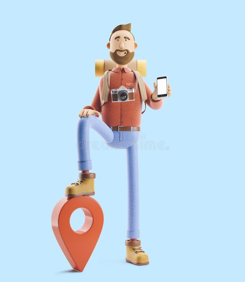 Le touriste de personnage de dessin animé se tient avec un grands indicateur et téléphone de carte dans des ses mains illustratio illustration libre de droits
