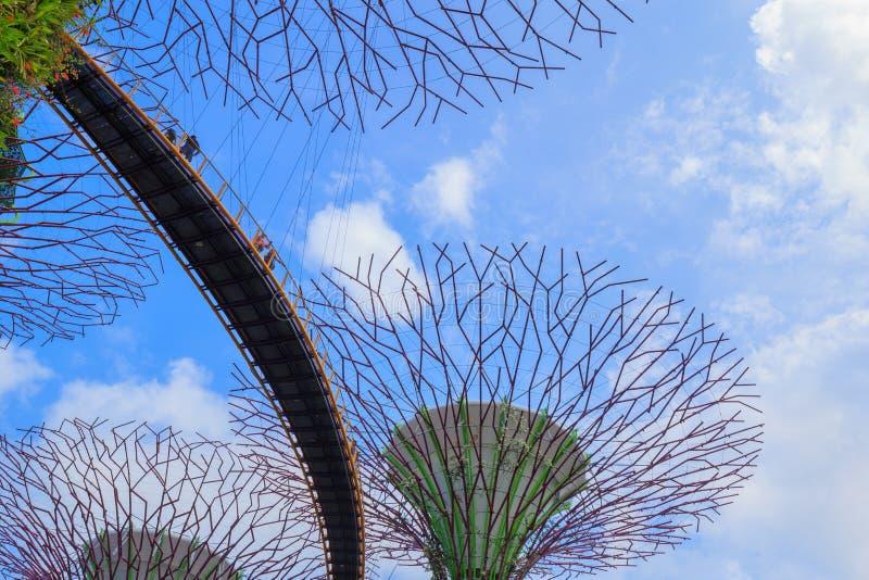 Le touriste non identifié a visité skyway des jardins par la baie au péché images stock