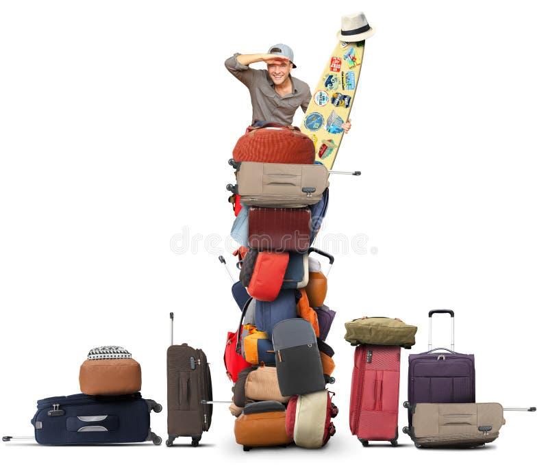 Le touriste s'assied sur une pile des sacs illustration stock