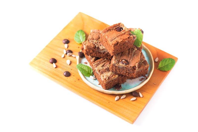 Le tournesol organique fait maison de fondant de concept sain de nourriture graine des 'brownie' de beurre d'isolement sur le fon photographie stock