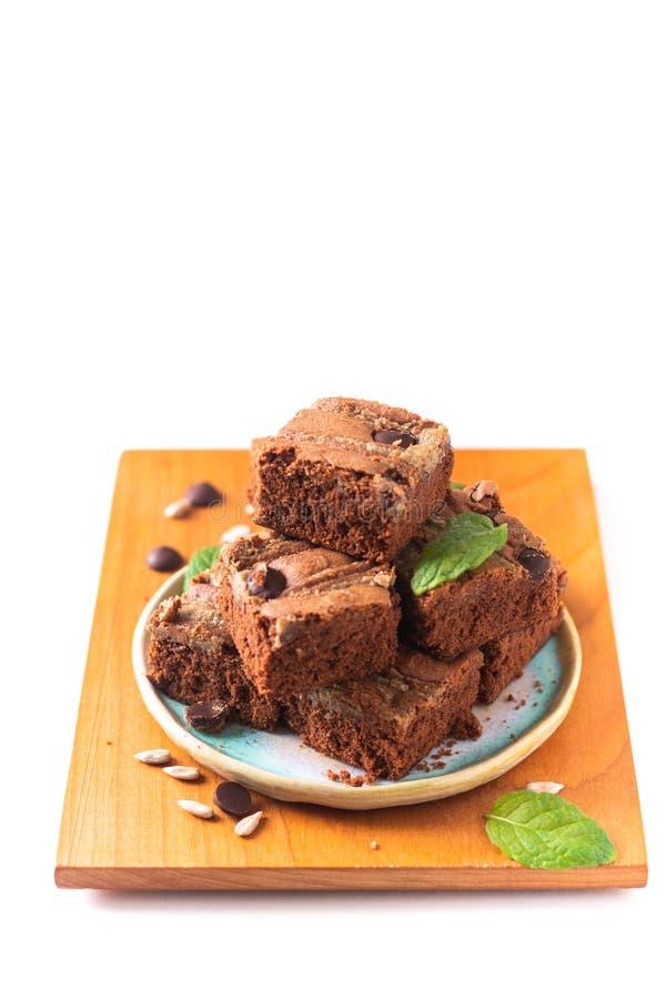 Le tournesol organique fait maison de fondant de concept sain de nourriture graine des 'brownie' de beurre d'isolement sur le fon image libre de droits