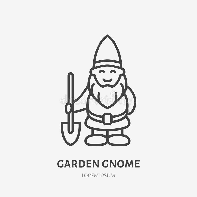 Le trädgårds- gnom, dvärglägenhetlinje symbol Tunn linjär logo för att arbeta i trädgården lagret stock illustrationer