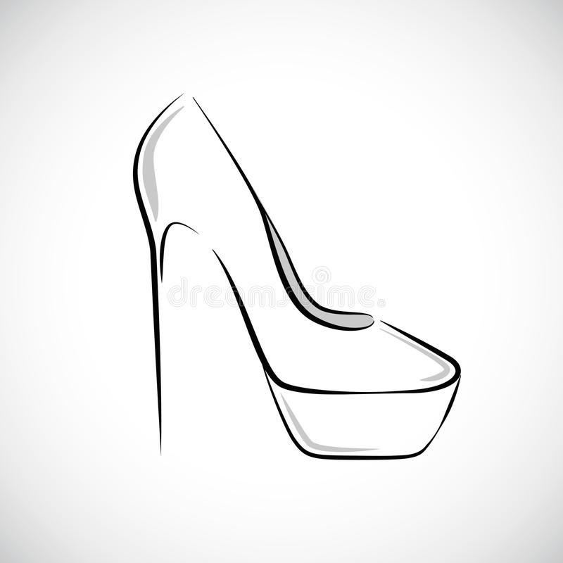Le ` très élevé s de femmes chausse le dessin de main de mode illustration stock