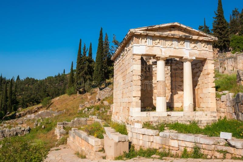 Le trésor athénien à Delphes photographie stock libre de droits