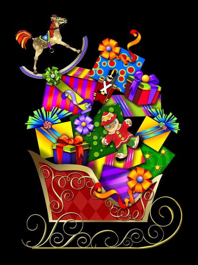 Le traîneau et les cadeaux de Santa illustration de vecteur