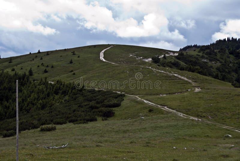 Le tracce di escursione in montagne di Velka Fatra con il prato e sfregano immagini stock libere da diritti