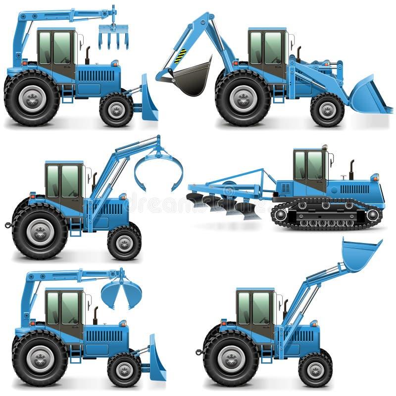 Le tracteur agricole de vecteur a placé 3 illustration stock