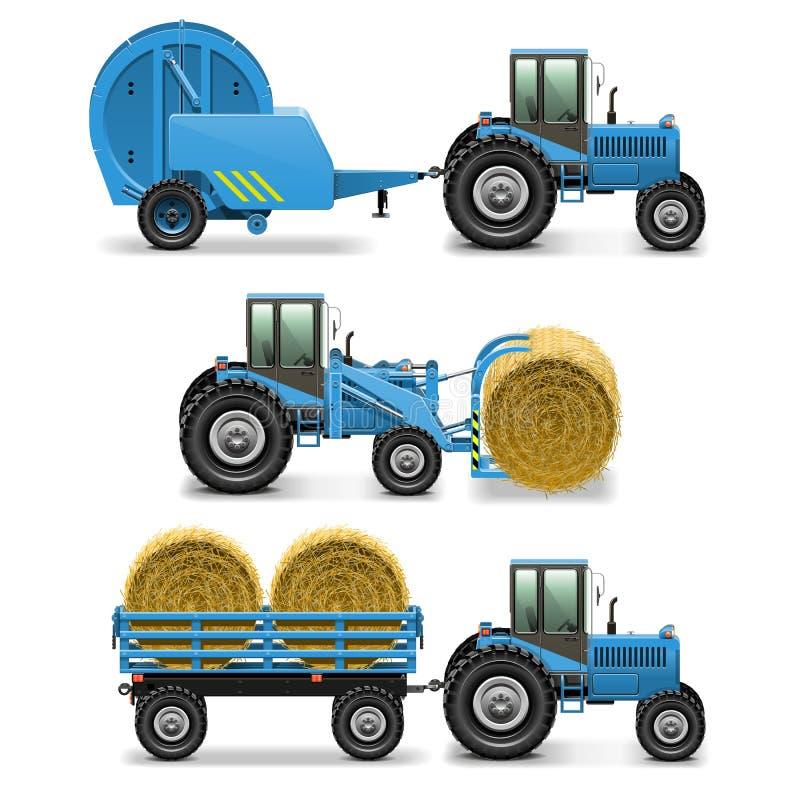 Le tracteur agricole de vecteur a placé 5 illustration libre de droits