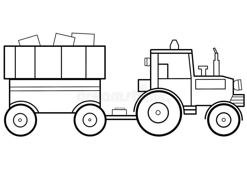 Le tracteur badine la page éducative de coloration illustration stock