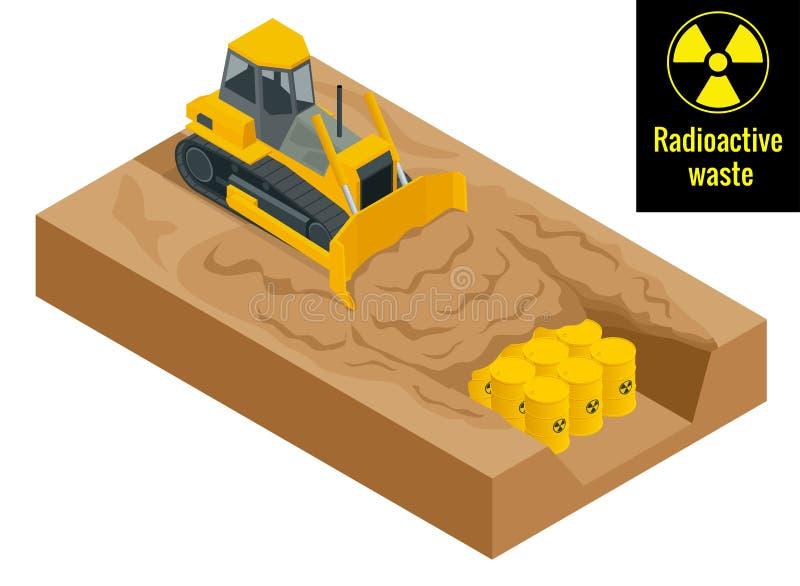 Le tracteur creuse dans des fûts avec les déchets radioactifs dans les barils jaunes Concept radioactif de danger Vecteur 3d plat illustration stock