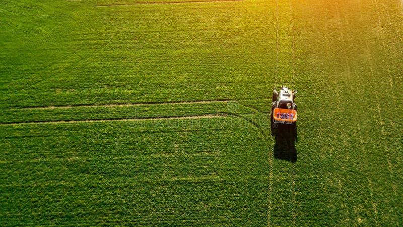 Le tracteur fait l'engrais sur le champ Vue supérieure images libres de droits
