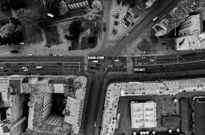 Le trafic à partir du dessus vers le bas image stock