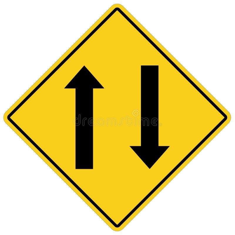 Le trafic bi-directionnel en avant se connectent le fond blanc Style plat poteau de signalisation bi-directionnel pour votre conc illustration stock