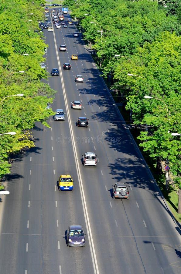 Le trafic de jour de Bucarest photographie stock