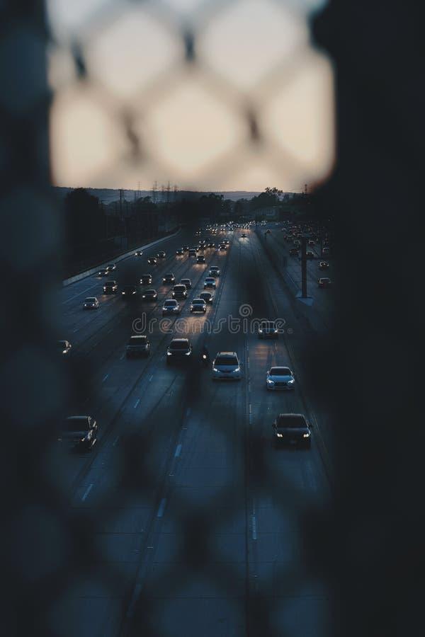Le trafic de la Californie une soirée de fin d'été photographie stock libre de droits