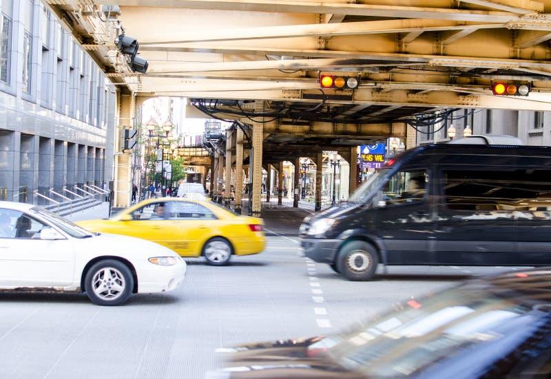 Le trafic du centre de Chicago image libre de droits