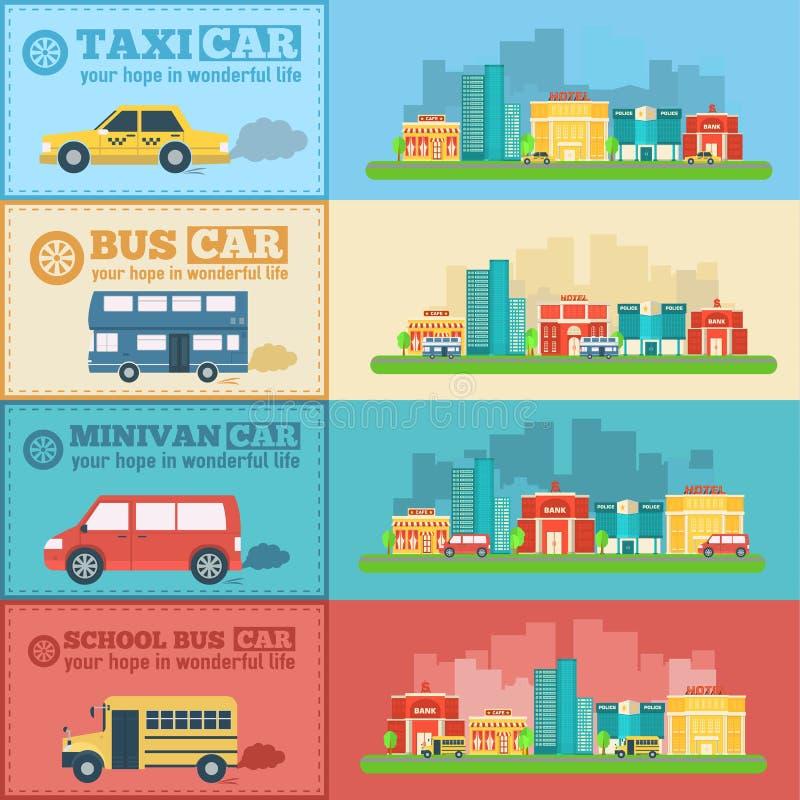 Le trafic infographic de bannières de voitures plates de ville illustration stock