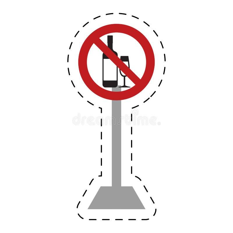 le trafic a interdit la boisson de boissons de tasse de verre à bouteilles illustration de vecteur