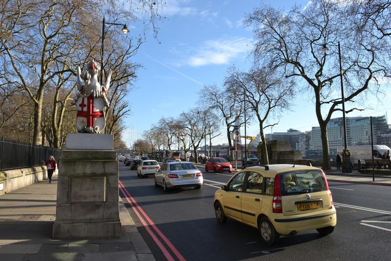 Le trafic Londres Victoria Embankment photos libres de droits