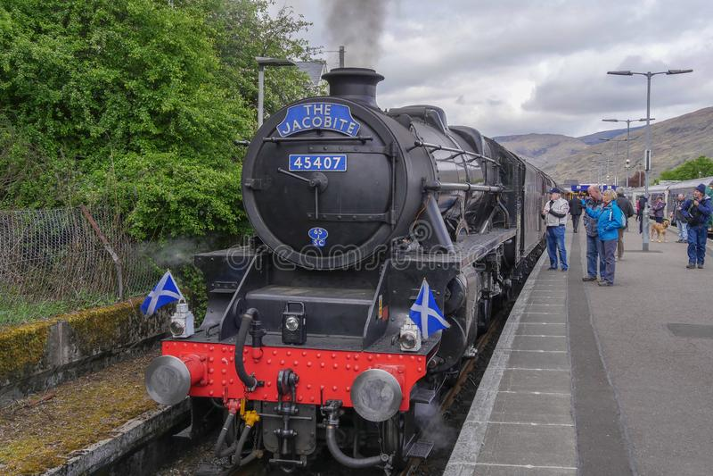 Le train de vapeur de Jacobite photo stock