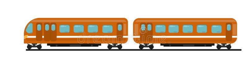 Le train de voyageurs de couleur orange de deux voitures sur des rails illustration libre de droits