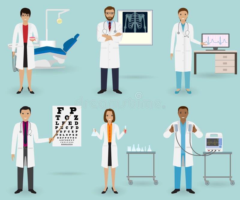 Le traitement médical a placé avec des médecins de différentes spécialités Profession de personnel de médecine Groupe d'employé d illustration libre de droits