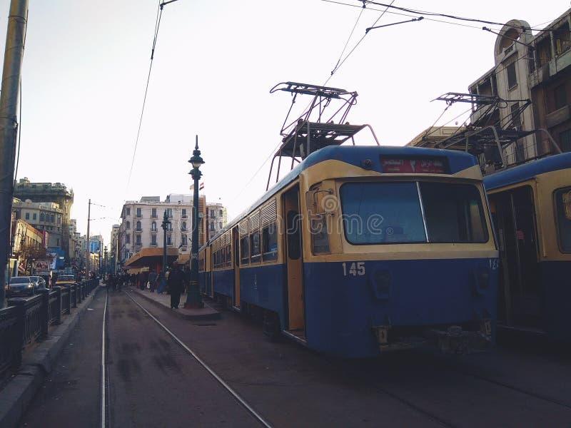 Le tram de la ville de l'Alexandrie, Egypte photographie stock