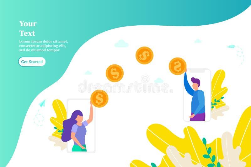 Le transfert d'argent entre deux smartphones, concept des paiements en ligne utilisant le téléphone, fille donne l'argent, paye l illustration stock