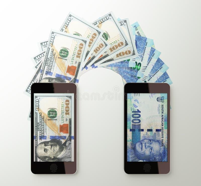 Le transfert d'argent mobile international, dollar à sud-africain a fonctionné illustration de vecteur