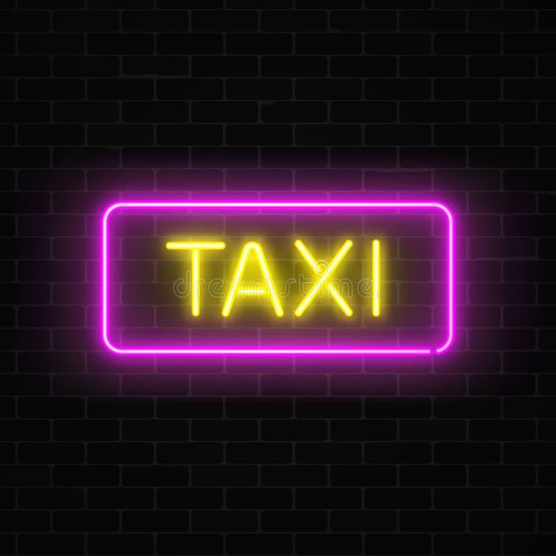 Le transport au néon d'uber et de taxi entretient signe dedans une forme géométrique sur un fond de brique illustration de vecteur