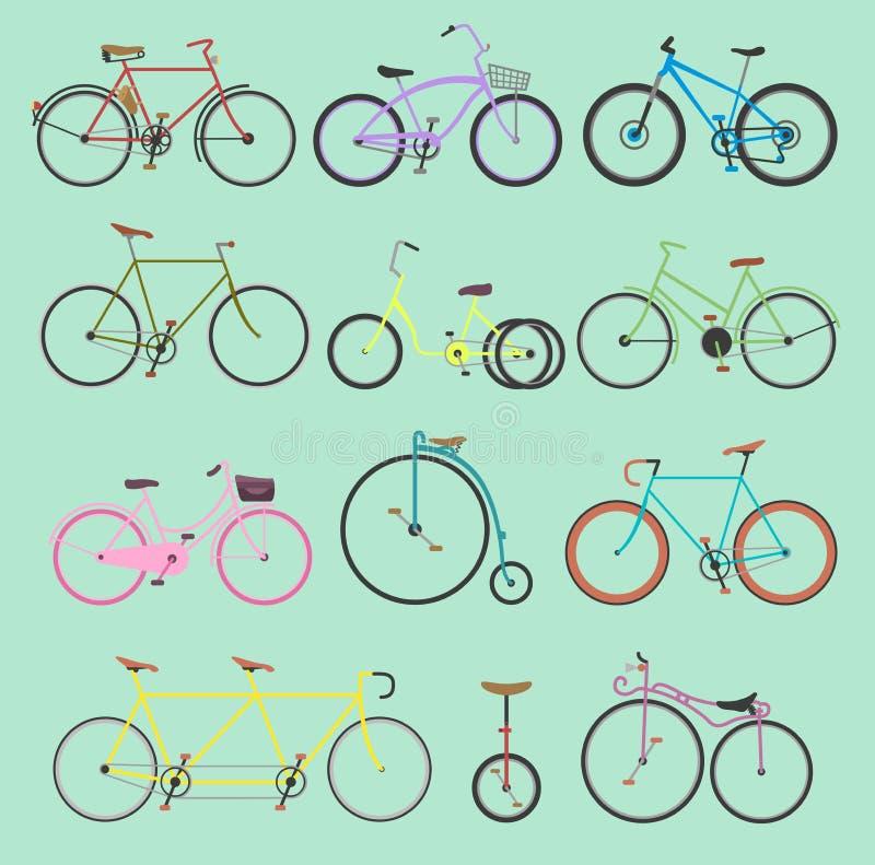 Le transport démodé de filles et de hippie de rétro de vélo vecteur de vintage montent le transport d'été de bicyclettes de véhic illustration de vecteur