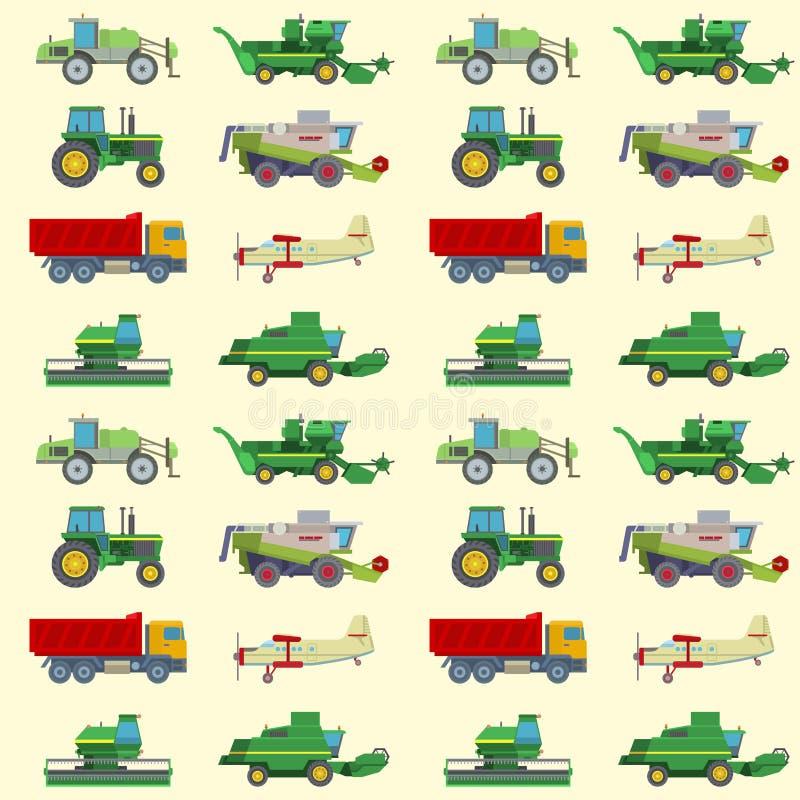 Le transport industriel de tracteurs d'équipement de ferme de machine de récolte d'agriculture combine et l'excavatrice de machin illustration stock