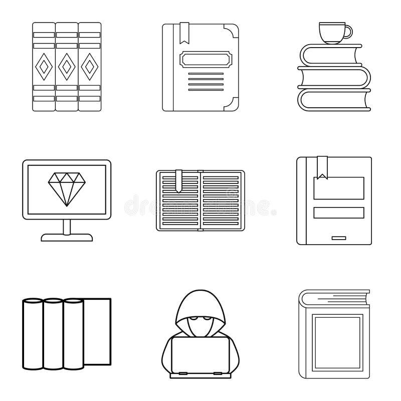 Le travail avec des icônes de livre a placé, décrit le style illustration de vecteur