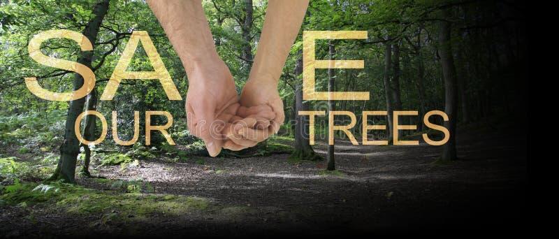 Le travail d'équipe aidera à sauver notre bannière d'arbres image libre de droits