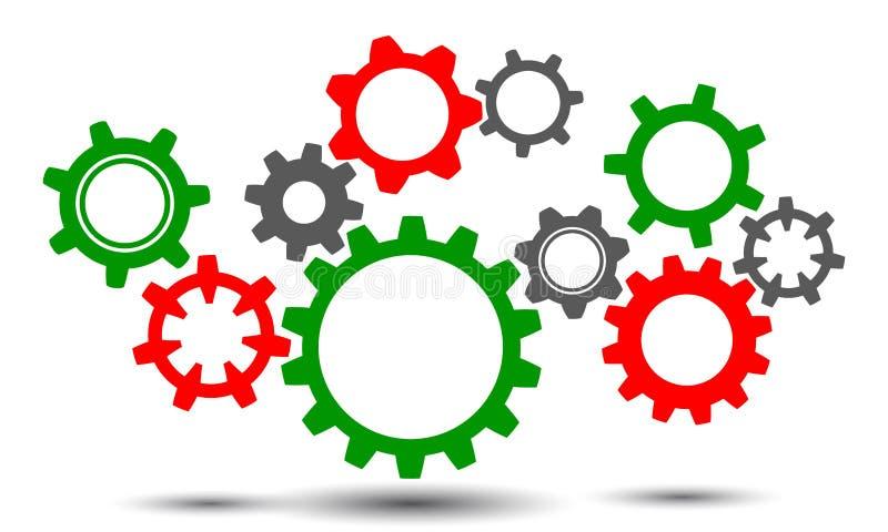 Le travail d'équipe de concept, idée d'affaires de générateur, groupe embraye - le vecteur illustration de vecteur