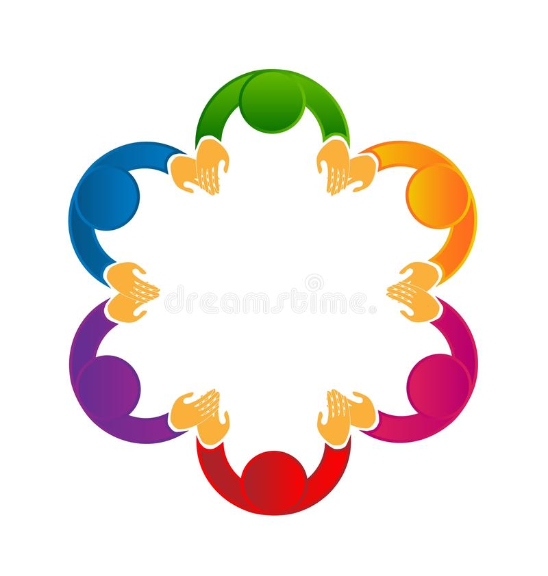 Le travail d'équipe social de media de logo tenant des mains dirigent l'icône illustration stock