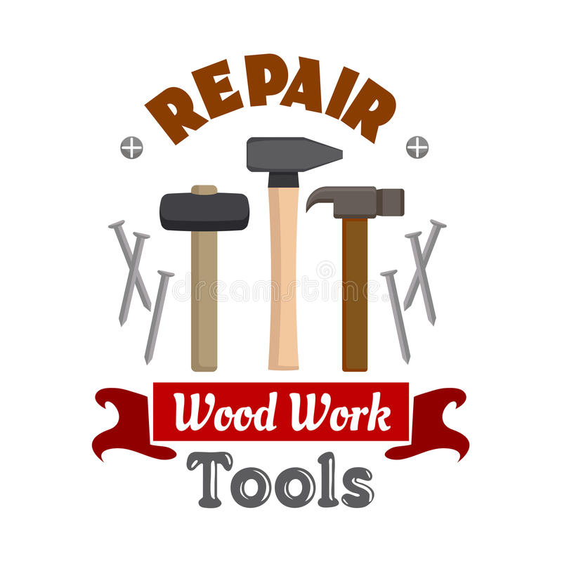 Le travail de marteaux de réparation usine l'emblème illustration de vecteur