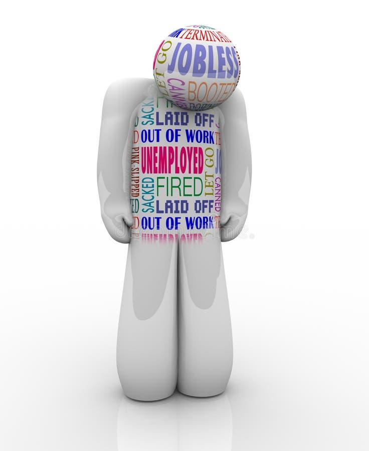 Le travail de Person Sad Fired Jobless Wants de chômeurs illustration stock