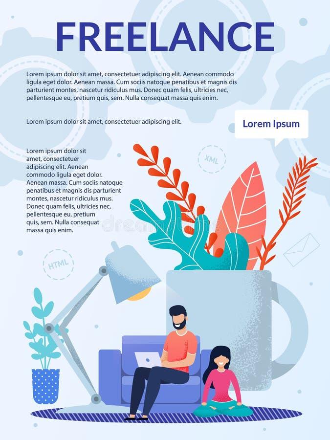 Le travail indépendant, extérieur fonctionnent à la maison la brochure de bureau illustration stock