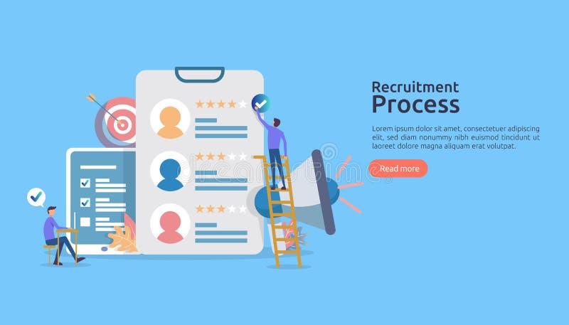 Le travail louant, concept en ligne de recrutement avec le caractère de personnes entrevue d'agence processus choisi de résumé ca illustration stock