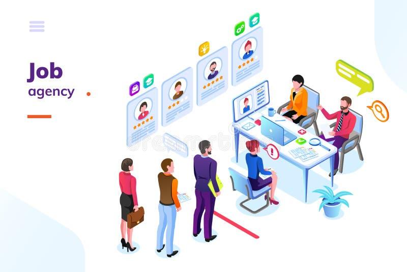 Le travail ou location, vue isométrique d'agence de recrutement illustration stock