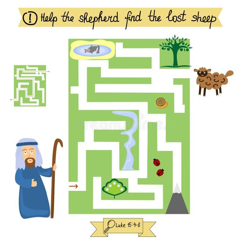 Le travail pour des enfants accomplissent le labyrinthe et trouvent les moutons perdus École du dimanche illustration de vecteur